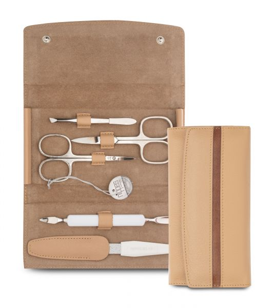 Nippes GAP, Maniküre-Set, 5-tlg., Instrumente vernickelt, robustes Leder-Etui, hellbraun/beige