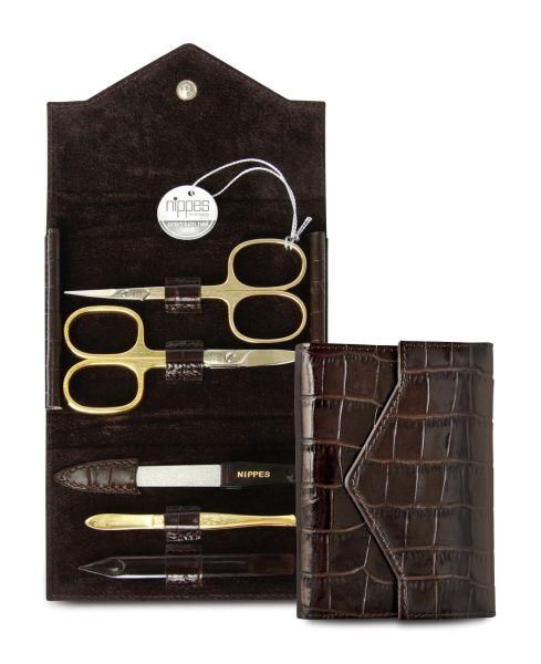 Nippes CROCO, 5-tlg. Maniküre-Set, Instrumente vergoldet, Lackleder-Etui, Kroko-Look, dunkelbraun