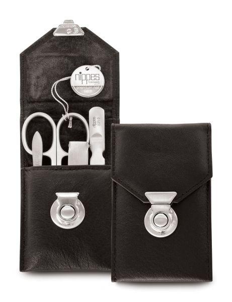 Nippes LOCKS; 4-tlg. Maniküre-Set, rostfrei, mit Knipser, Rindleder, schwarz, silberner Druckverschl