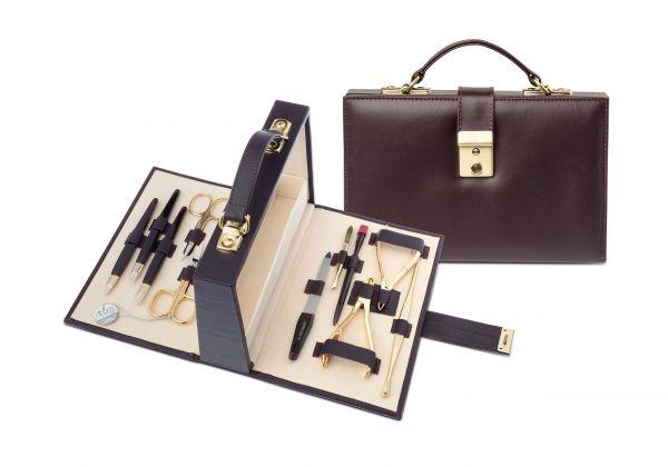 Nippes Maniküre-Set, 11-tlg., im Leder-Koffer bordeaux, Instrumente vergoldet