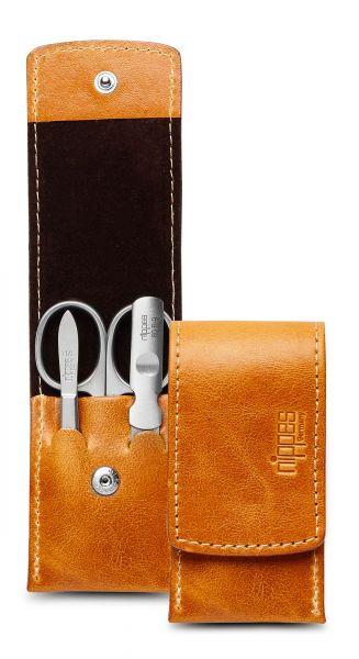 Taschen-Maniküre-Etui COGNAC, Rindleder, 3 rostfreie Nippes Instrumente, hellbraun