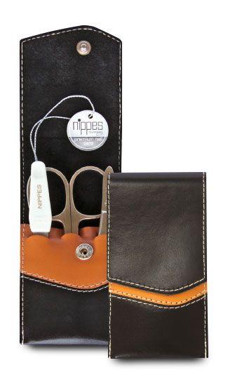 Nippes SEAM, Taschen-Maniküre-Set, 3 Instrumente, vernickelt, im Leder-Etui in schwarz/braun