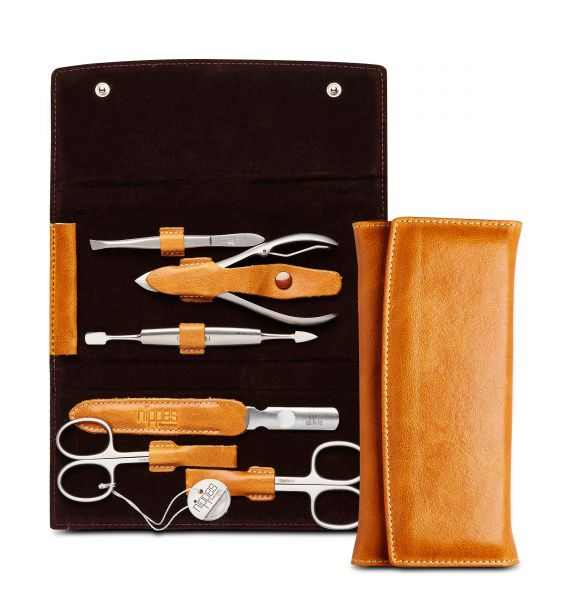 Maniküre-Etui COGNAC, Rindleder, 6-tlg. mit rostfreien Nippes Instrumenten, hellbraun
