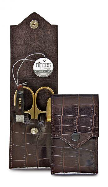 Nippes CROCO Taschen-Maniküre-Set, vergoldet, 3-tlg., Leder, dunkelbraun Kroko,
