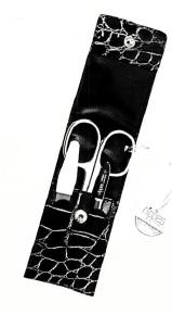Nippes TREND, Taschen-Maniküre-Set, vernickelt, 3-tlg., Leder-Etui, schwarz