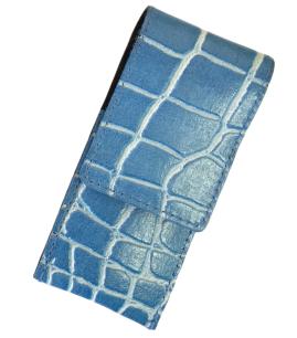 Maniküre-Set, vernickelt, Leder-Etui, 3-tlg., blau