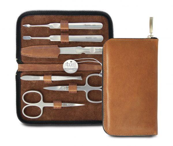 Nippes WHISKEY Maniküre-Set, Leder-Etui mit Reißverschluss, braun, 6-tlg., rostfrei