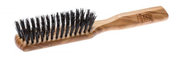 Nippes OLIVIA Haarbürste mit Rosshaar/Nylon Borsten, länglich, Olivenholz