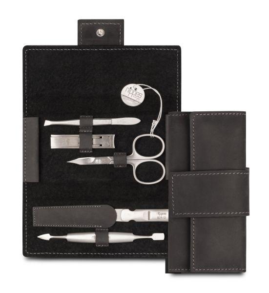 Nippes TABARD Maniküre-Set, rostfreie Instrumente, mit Nagelknipser, Leder-Etui, 5-tlg., schwarz